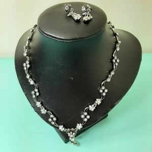 Sparkling costume necklace and earrings